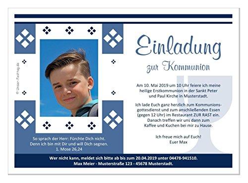 Kommunioneinladungen für Junge schön edel - mit FOTO (oder ohne) - Wunschtext - 100 Karten in 17 x 12 cm