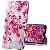 MRSTER Nokia 3.2 Handytasche, Leder Schutzhülle Brieftasche Hülle Flip Hülle 3D Muster Cover mit Kartenfach Magnet Tasche Handyhüllen für Nokia 3.2 (2019). BX 3D - Pink Cherry