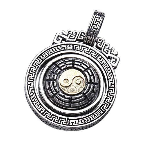 Yarmy S925 Sterling Zilver Heren Persoonlijkheid Chinese Stijl Taiji yin en yang Gossip Roterende Hanger Ketting Gift aan Beste Mensen, Vakantie Gift