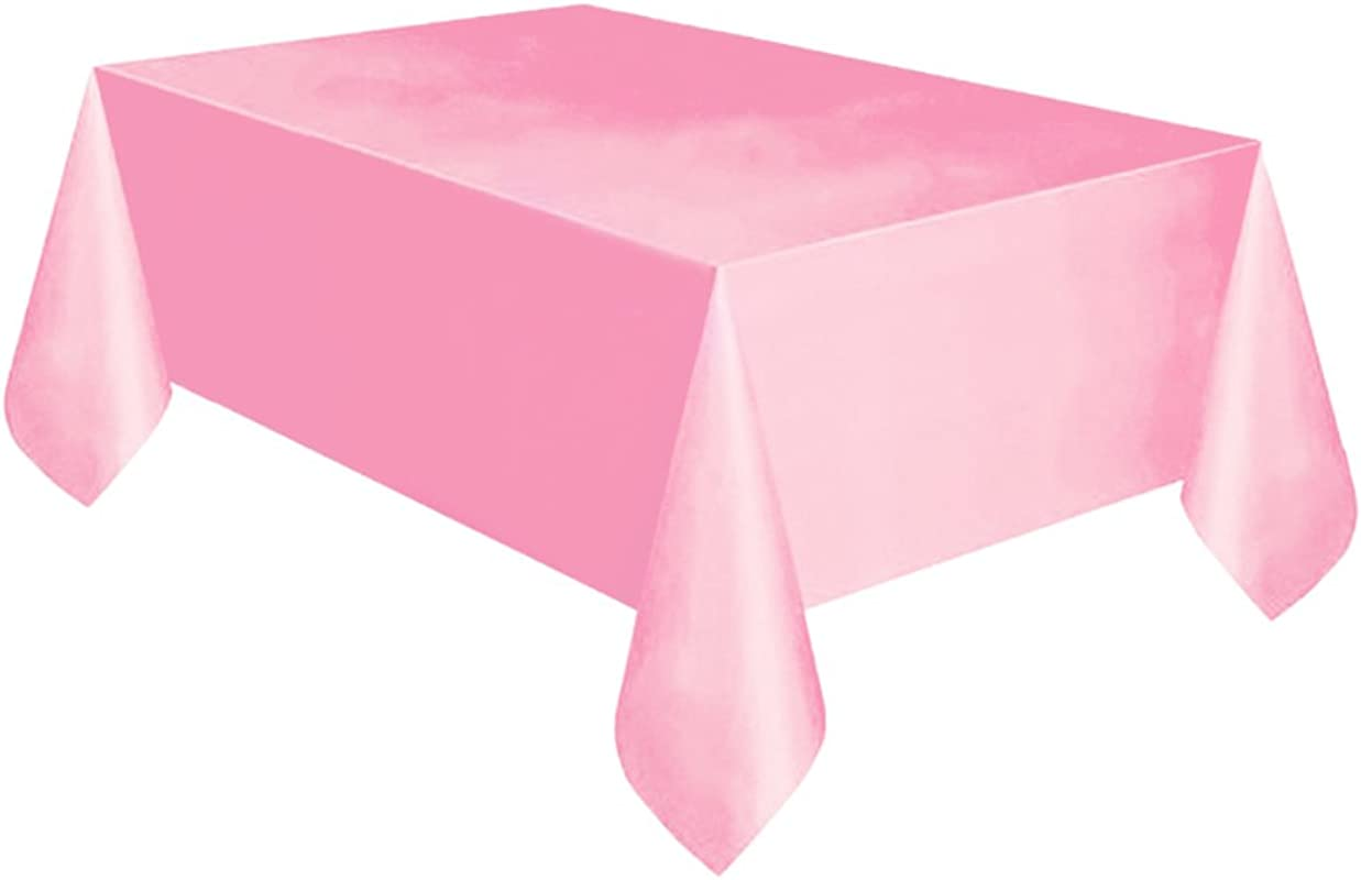 Lightclub PE Waterproof Disposable Reusable Home Restaurant Solid Color Rectangle Dining Table Cover Table Cloth Birthday Party Tablecloth Decor For Wedding Event Party Hotel Pink