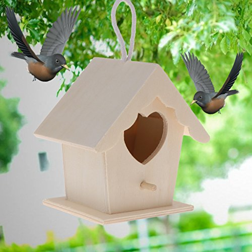 ECMQS Forma de Corazón para Puerta Madera Pajarera, Creativo Pared Madera Outdoor Bird House Nido de Pájaro