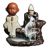 QND,Statuen,Creative Home Decor Petit Porte-encens Bouddha Backflow Brûleur d'encens Utilisation Dans le Salon de thé de Bureau à Domicile, Kaki foncé, S