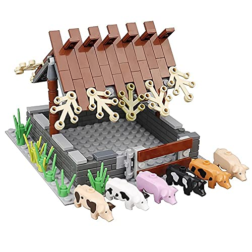 Model Building Blocks City Farm Animals Building Blocks for Kids MOC Bricks Parts Chicken Coop Hen House Toys for Children Boy Girl DIY Gifts (Pig shed)
