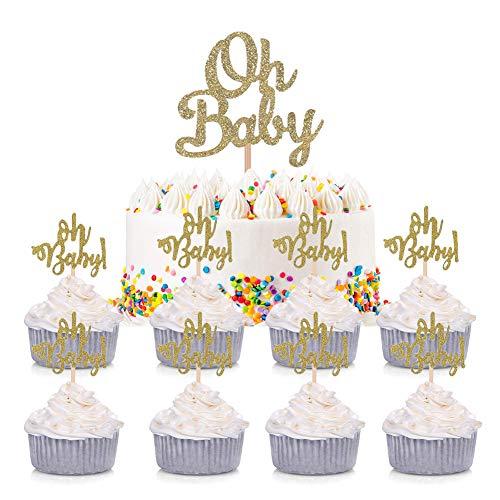 ENSTAB 25 Stück Babyparty Tortendeko Gold OH Baby Kuchendeko Tortendekoration Taufe Cupcake Toppers Baby Shower Dekoration