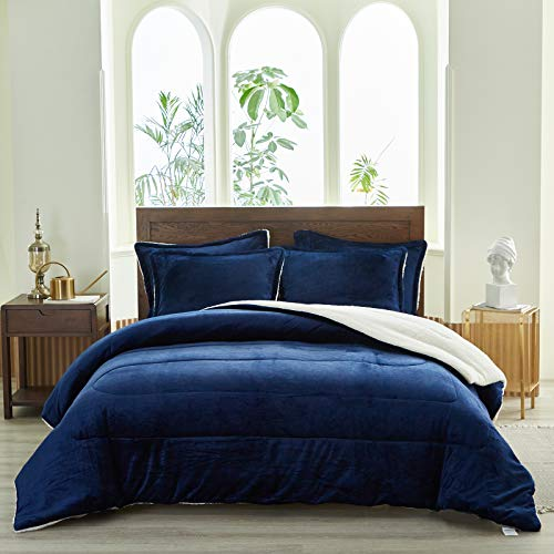 "Uozzi Bedding 3-Piece Sherpa Flannel Micromink Comforter Set Ultra-Soft Winter Microfiber Fill Bedding Set Down Alternative Fleece Warm Weighted Duvet with 2 Pillowcase (Navy-Blue, King 102""x88"")"