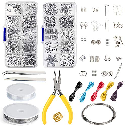 FEPITO Schmuckherstellung Kit Anfänger Werkzeug Kit Schmuck Reparatur Kit Schmuck Zubehör mit Zangen für Schmuckherstellung Reparatur DIY Bastelbedarf