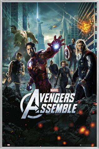 1art1 Los Vengadores Póster con Marco (Plástico) - Superheroes Assemble, Marvel Studios One Sheet (91 x 61cm)