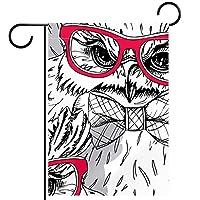 ガーデンサイン庭の装飾屋外バナー垂直旗赤いメガネと抽象イーグル オールシーズンダブルレイヤー