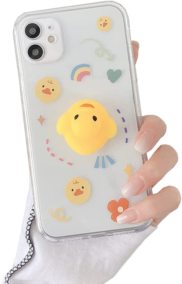 Decompression Finger Pinch Cute for iPhone 11 Pro Max Case Soft Squishy 3D Pinch Duck Protective Kawaii for Apple iPhone 6.5 inch Case (Pinch Duck, iPhone 11 Pro Max【6.5 inch】)