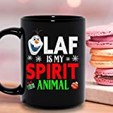 N\A Olaf Is My Spirit Animal Christmas Xmas Vacation Season Holiday Tazza in Ceramica Tazze da caffè grafiche Tazze Nere Top da tè novità Personalizzata 11 Oz