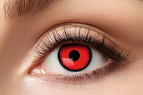 Zoelibat Farbige Kontaktlinsen für 12 Monate, Angelic Red, 2 Stück, BC 8.6 mm / DIA 14.5 mm, Jahreslinsen in Markenqualität für Halloween, Fasching, Karneval, rot