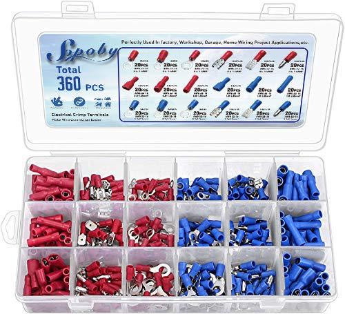 360pcs Conectores eléctricos, Sopoby Mixed Assorted Lug Kit Insulated Spade Wire Conector Crimp...