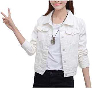neveraway Womens Stretchy Long-Sleeve Casual Denim Loose Classic Fit Jackets