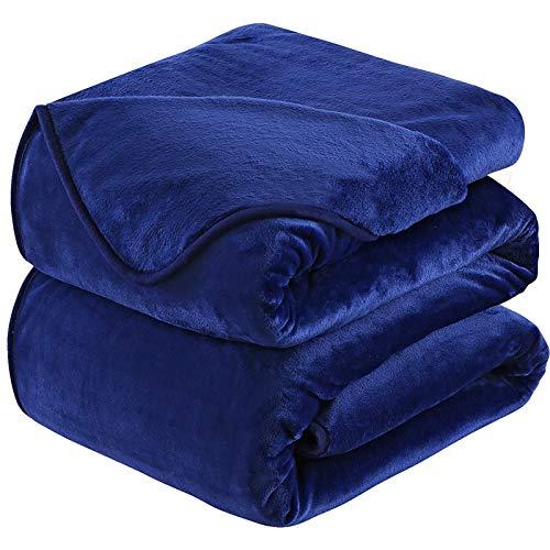 HOZY Kuscheldecke 220x240cm Decke Sofa,Warme Fleecedecke Als Tagesdecke/Sofaüberwurf/H&edecke/Flauschige Decke Navy Blau