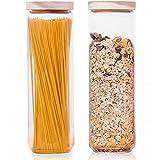 Econovo® Vorratsgläser Set mit Deckel (2-teilig) aus mundgeblasenem Borosilikatglas, stapelbar und luftdicht, Vorratsdosen Glas-Behälter Set für Spaghetti und Lebensmittel groß und klein 1500ml