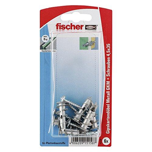 fischer 015158 Gipskartondübel Metall SK SB-Karte, Inhalt Gipskarton-/Gipsfaserplattendübel GKM, 6 x Spanplattenschraube 4,5 x 35
