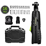 Electric Ratchet Wrench, HAWKFORCE Cordless 3/8 Inches Air Ratchet Tool Set Variable Speed Trigger with 12V Lithium-Ion Battery, Charger Kit and 16 PCS Wrench Sockets (CR12L)