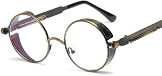 LUKEEXIN Steampunk Style Round Vintage Polarized Sunglasses Retro Eyewear UV400 Protection Matel Frame (Color : 15)