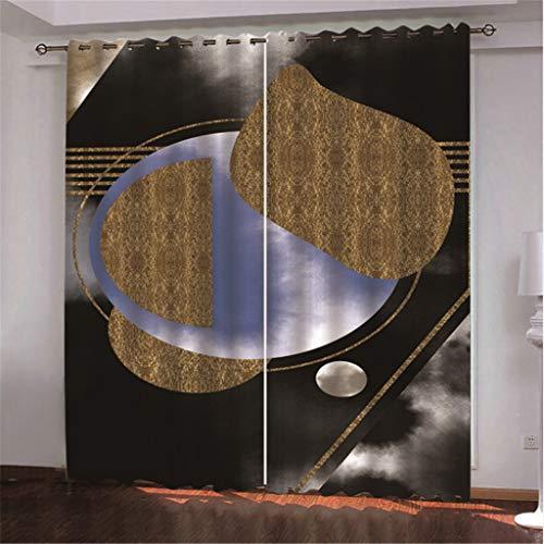 tiandushangdian Cortinas Opacas Personalizadas Disco Abstracto De Oro Oscuro Ojal Impreso En 3D Aislamiento Térmico Cortina De Seda Negra 250 (H) X150Cm (An) X2