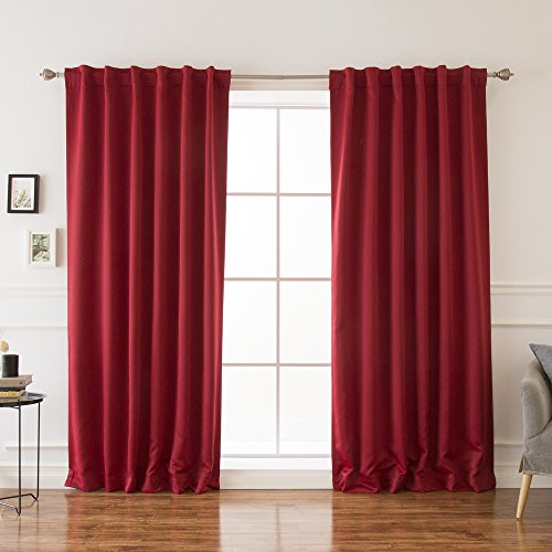 "Best Home Fashion Basic Thermal Insulated Blackout Curtains - Back Tab/Rod Pocket - Cardinal Red - 52"" W x 96"" L - Tie Backs Included (Set of 2 Panels)"