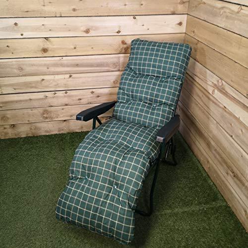 Samuel ALEXANDER Padded Outdoor Garden Patio Recliner/Sun Lounger in Green