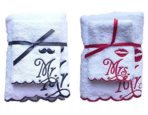 Niceprice Mr. & Mrs. Handtuch Set, 1x Handtuch 50x100 cm 1x Gästetuch 30x50 cm, MR. Weiß, Schwarz