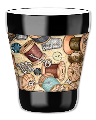 Mugzie Gobelet Boisson Tasse avec amovible isotherme plongée Coque–Fil à coudre, plastique, multicolore, 12 ounce