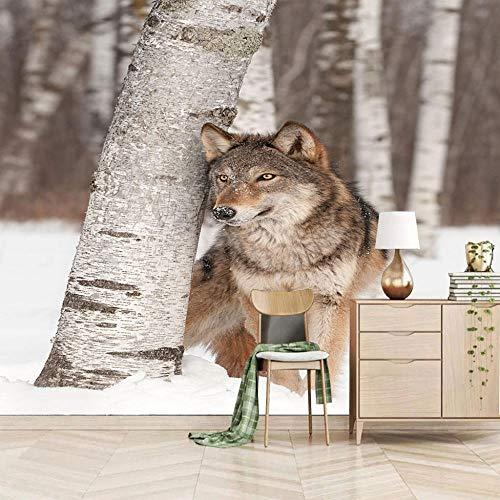 Fotobehang Wolf muur muurschildering 3D niet-geweven moderne woondecoratie voor slaapkamer badkamer 250x175cm