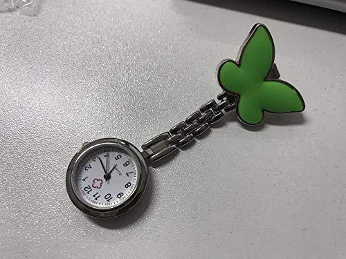 B/H Krankenschwesteruhr Schwesternuhr,Weibliche Krankenschwester Arzt spezielle Taschenuhr, niedlich schmetterlingsgrün