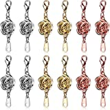 12 Pieces Locking Magnetic Clasps Rose Jewelry Magnetic Clasp Necklace Lobster Clasp Closures Magnetic Clasp Converter Chain Extenders for Jewelry Necklace Bracelet (Gold, Silver, Rose Gold)