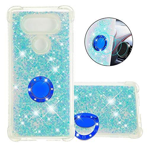 FAWUMAN Coque pour LG V30 / LG V30 Plus,Brillante Cristal Diamant Anneau Socle de téléphone Liquide Dégradé Transparente Silicone TPU Étui Antichoc Coques(Étoiles Bleues fluorescentes)