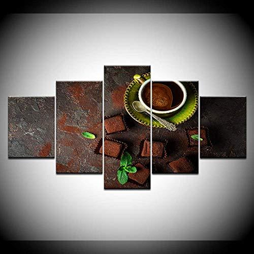 DGGDVP canvas schilderij Tiramisu cake en koffie 5 stuks muurkunst schilderij modulaire behang poster afdrukken voor woonkamer wooncultuur 30x40cmx2,30x60cmx2,30x80cmx1 Met frame.