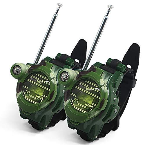 Walkie talkie 7 en 1 reloj brújula inalámbrica para niños de regalo de gama larga para jugar walkie-talkie/reloj tiempo/lupa/misil/brújula/reloj/espejo de radiación (2pcs)