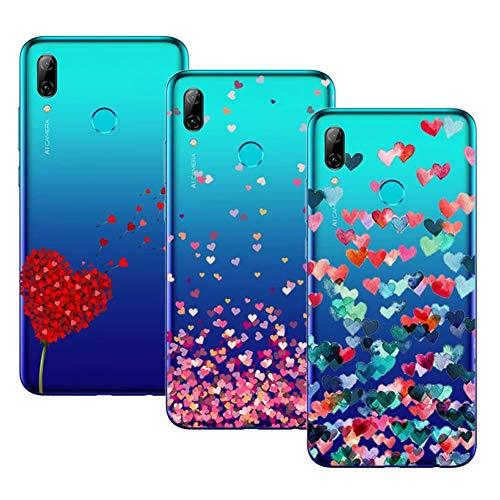 Young & Ming Huawei P Smart 2019 Cover, (3 Pack) Trasparente La Protezione Superiore Leggero Sottile Silicone Premium TPU Case, Amore