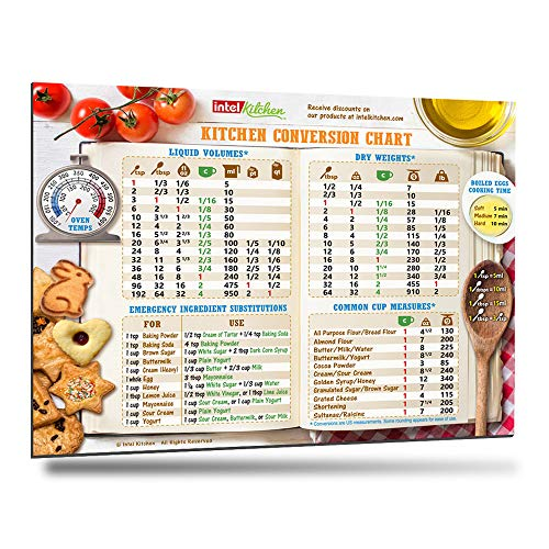Comprehensive Kitchen Conversion Chart Magnet 10'x7' Big Text 50% More Data Easy to Read Magnetic Chef Accessories Cooking Utensils for Baking Metric Measurement Equivalent Conversions Unique Gift