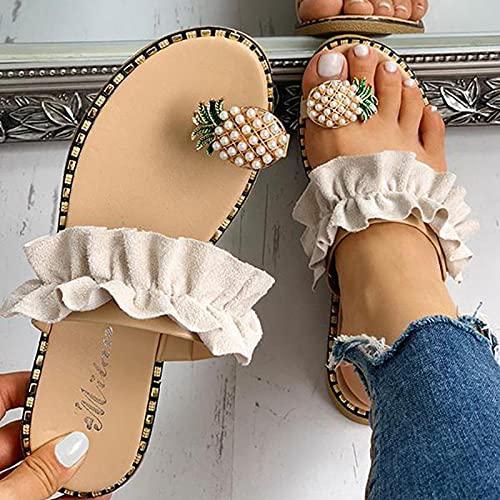 NISHIWOD Zapatillas Casa Chanclas Sandalias Sandalias De Mujer Zapatillas Zapatos Chanclas Planas Cadena De Cuentas Cuñas De Moda De Verano Diapositivas De Mujer Piña Dama Casual 6 Beige