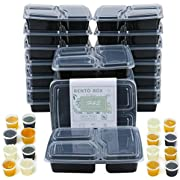 20 Packs Meal Prep Containers with lids Three Compartment Lunch Box BPA-Free Reusable Microwavable Dishwasher Freezer Safe
