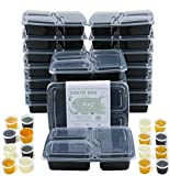 Lot de 20boîtes à repas réutilisables sans bisphénolA avec couvercles et 3compartiments compatibles avec micro-ondes et congélateur