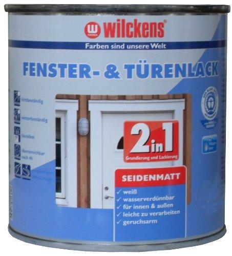 2in1 Türen und Fensterlack weiss inkl. Pinsel von E-Com24 zum Auftragen (2 in 1 375 ml seidematt)
