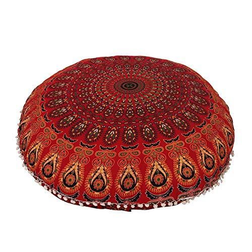 AAKARSHAN 32' Mandala Floor Pillow Cushion Seating Throw Cover Hippie Decorative (Red)
