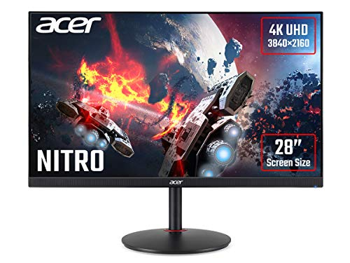 Acer Nitro XV280Kbmiiprx 28 inch UHD Gaming Monitor (IPS Panel, FreeSync, 60Hz, 4ms, HDR 10, Height Adjustable Stand, DP, HDMI, Black)