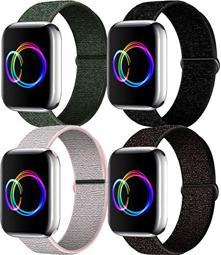 ERtec 4 Pack Nylon Correas Compatible para Apple Watch 44 mm 42 mm 40 mm 38 mm, Peso liviano Correas para iWatch Serie 6/5/4/3/2/1/se