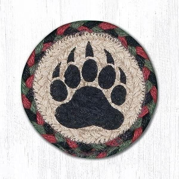 5 X5 Burgundy Black Sage Bear Paw Round Individual Coaster