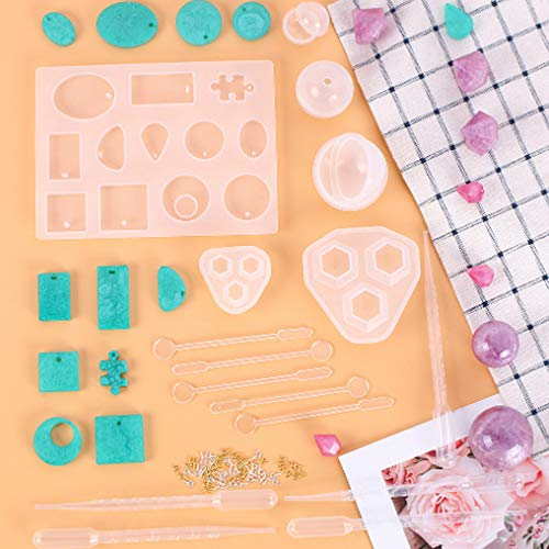 VWORK 66PCS Resin Jewelry Mold Set, Silicone Jewelry Molds for Epoxy Resin, Pendant, Earring, Diamond Resin Casting Molds