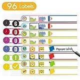 Namensetiketten Namen Sticker Aufkleber Sticker für Kinderflaschen, Brotdosen, Schule, Spülmaschinenfest, Personalisiert, 96 Stück