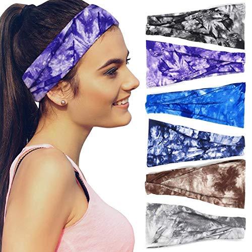 Headbands For Women, 6 PCS Yoga Running Sports Cotton Headbands Tie Dye Elastic Non Slip Sweat Headbands Workout Hair Fashion Bands