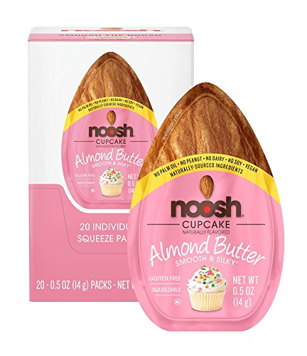 NOOSH Cupcake Almond Butter Packets (20 count) - Naturally Sourced Ingredients, Vegan, Gluten Free, Non GMO, Kosher, Peanut Free, Soy Free, Dairy Free, No Palm Oil