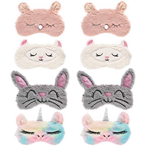 Biubee 8 Pack Cute Animal Eye Mask- Unicorn Alpaca Rabbit Bear Sleeping Mask Soft Plush Blindfold Cute Unicorn Horn Sleep Mask Eye Covers Eyeshade for Girls Women Kids Travel Nap Sleep Overnight Party