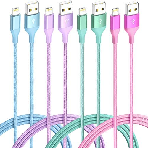 iPhone Charger Lightning Cable 4Pack 6 3 3 1ft 4Color MFi Certified Nylon Braided Long Fast product image