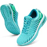 STQ Lace-up Running Shoes Women Breathable Air Cushioned Athletic Sneakers for Tennis, Jogging, Workout, Gym, Travelling,Walking and Shopping Teal 7.5